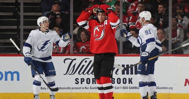 The Devils' Taylor Hall reacts after a second-period goal by the Tampa Bay Lightning on Dec. 3, 2018, at the Prudential Center.
