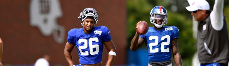 Saquon Barkley stands at Giants training camp