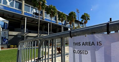Barricades surround the Yankees spring training facility.