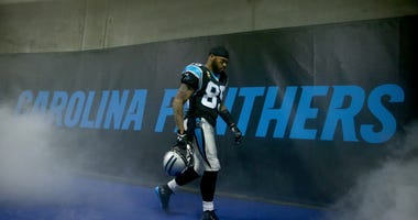 Steve Smith emerging from the tunnel at Charlotte's Bank of America Stadium