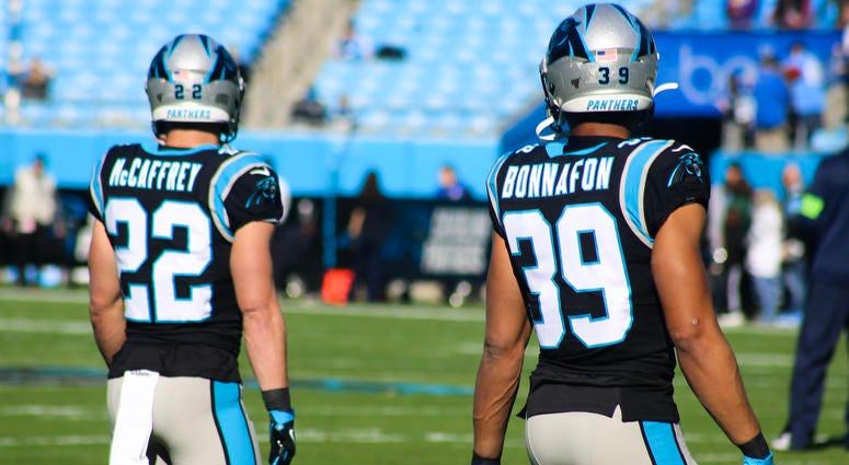 Panthers RBs CMC and Reggie Bonnafon