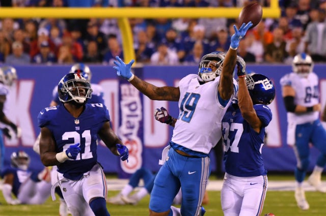 New York Giants cornerback Ross Cockrell (37) defends against Detroit Lions wide receiver Kenny Golladay (19) on an incomplete pass in the first half during a NFL football game at MetLife Stadium.