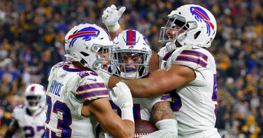 Micah Hyde, Jordan Poyer and Matt Milano