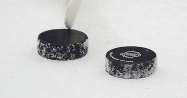NHL stick and pucks