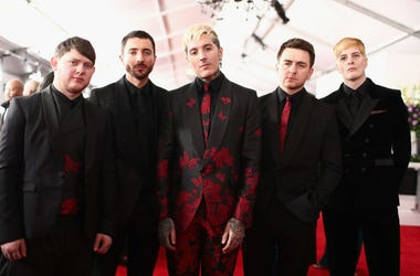 Guitarist Lee Malia, Keyboardist Jordan Fish, lead vocalist Oliver Sykes, drummer Matt Nicholls, and bassist Matt Kean of rock band 'Bring Me The Horizon' attend the 61st Annual GRAMMY Awards