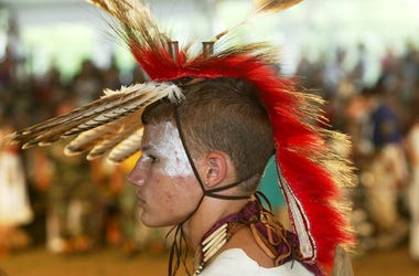 Daniel Gear, of Monacan Tribe of Virginia, takes part in the Smithsonian's pow wow marking the continuing construction of the National Museum of the American Indian on the National Mall September 15, 2002 in Washington, D.C.  -