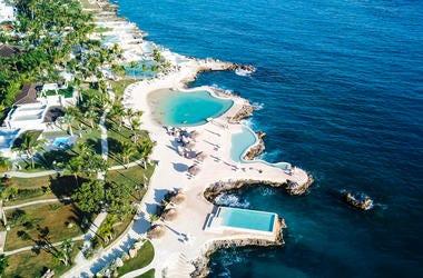 An aerial view of a beach resort.