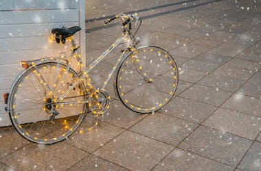 Bike Covered In Hanging Lights