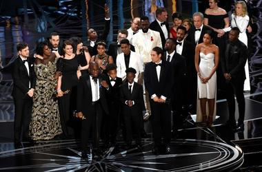 "This Feb. 26, 2017 file photo shows Barry Jenkins and the cast and crew of ""Moonlight"" accepting the award for best picture at the Oscars in Los Angeles."