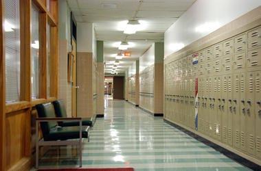 high school classroom hallway lockers