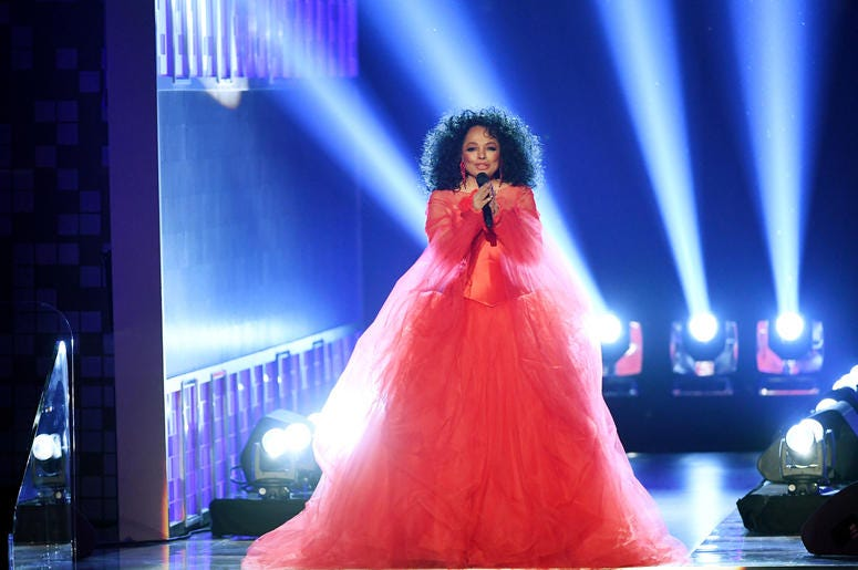 Diana Ross On Stage In Red Dress