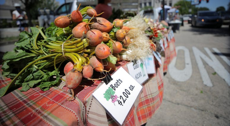 : Beets are for sale at a drive through farmer's market on April 25, 2020 in Baton Rouge, Louisiana.