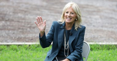 Dr. Jill Biden, wife of Democratic presidential candidate former Vice President Joe Biden, gestures during a visit at Evan G. Shortlidge Academy on September 1, 2020 in Wilmington, Delaware.