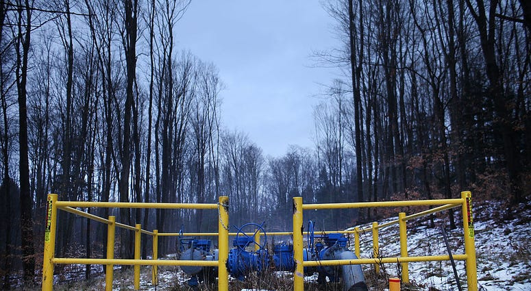 A Cabot Oil and Gas natural gas valve is viewed at a hydraulic fracturing site on January 17, 2012 in Springville, Pennsylvania. Hydraulic fracturing, also known as fracking,