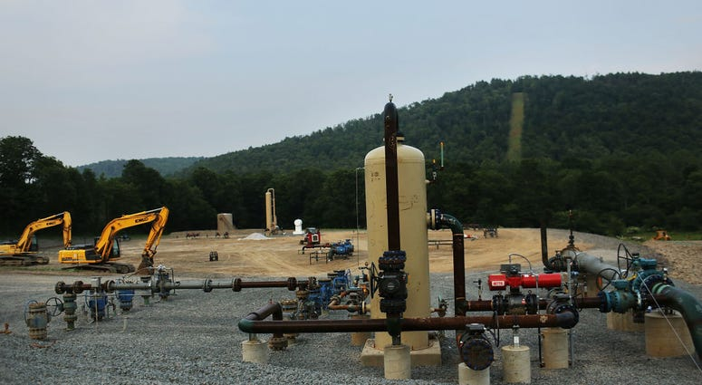 Equipment used for the extraction of natural gas is viewed at a hydraulic fracturing site on June 19, 2012 in South Montrose, Pennsylvania.