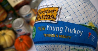 A donated Foster Farms turkey is displayed on a table at the SF-Marin Food Bank on November 13, 2015 in San Francisco, California.