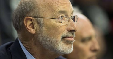 Pennsylvania governor Tom Wolf during game five of the first round of the 2018 NBA Playoffs