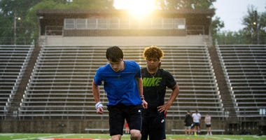 Maryville High football players participate in summer workouts at the school s stadium in Maryville on Tuesday, May 19, 2020.