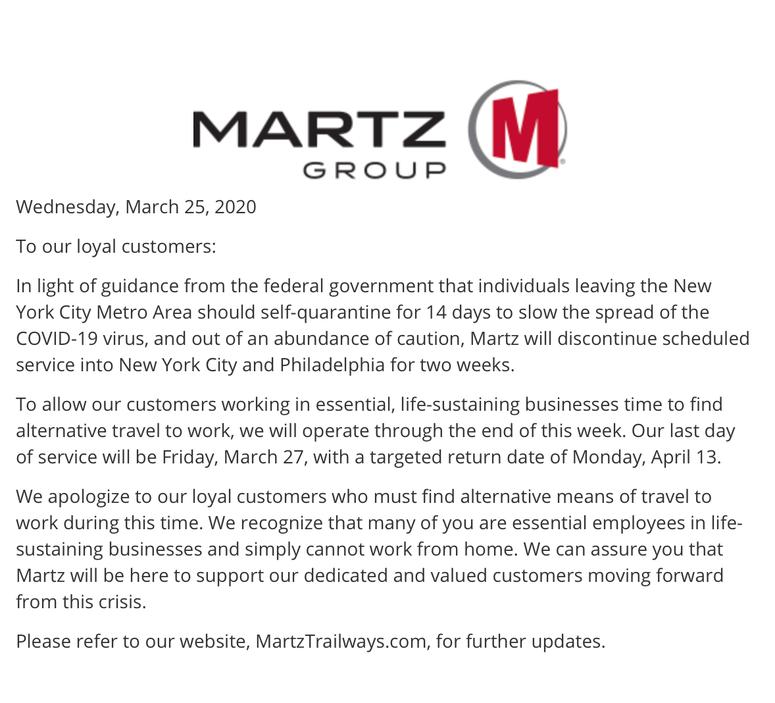 Martz Trailways announces suspension of service