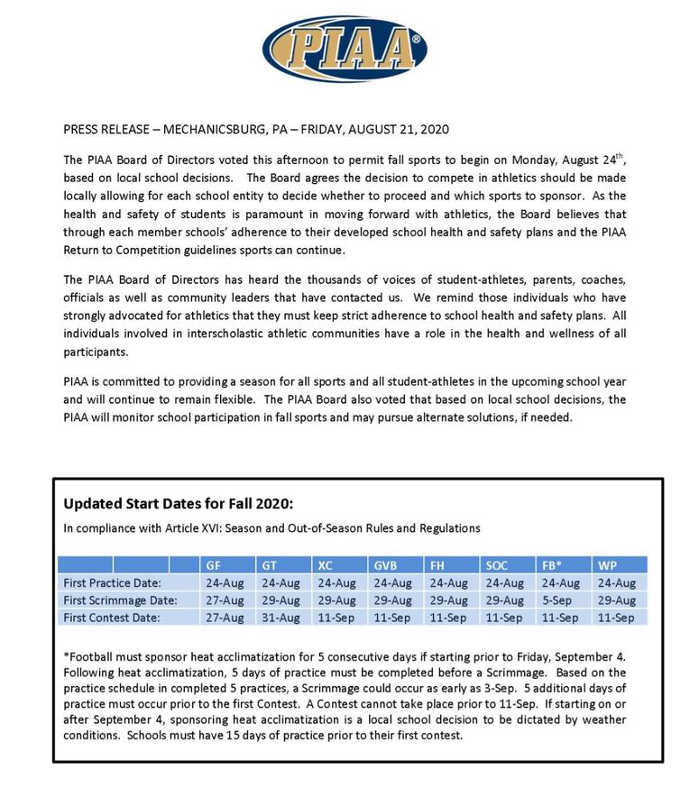 PIAA statement regarding fall sports