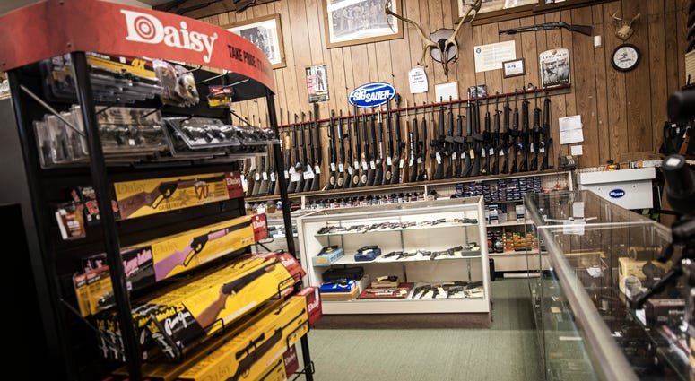 26 DECEMBER 2012 - Pennsylvania - Rifles for sale on display inside an undisclosed sports store in the state Pennsylvania, photographed on November 20, 2010.