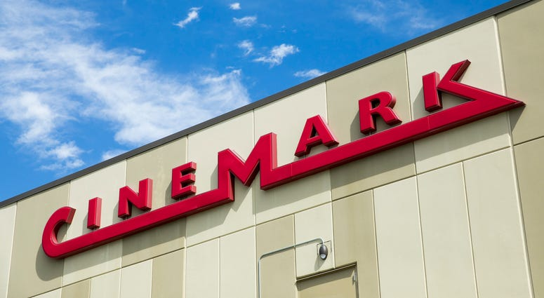 logo sign outside of a Cinemark movie theater location in Chesapeake, Virginia on May 2, 2020.