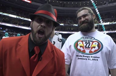 Jon Dorenbos and Jason Kelce at Wing Bowl