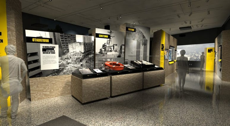 """In this artist's rendering provided by C&G Partners, the exhibit """"Revealed: The Hunt for Bin Laden,"""" is shown at the National September 11 Museum in New York."""