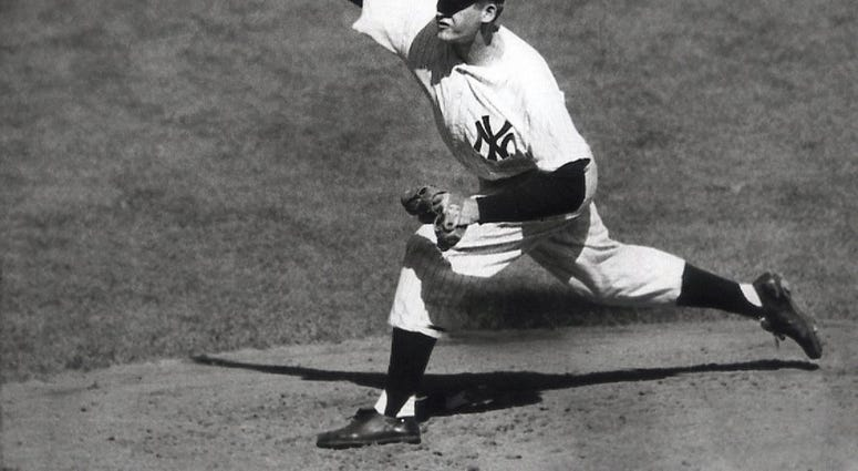 ILE - In this Oct. 8, 1956, file photo, New York Yankees' Don Larsen delivers a pitch in the fourth inning of Game 5 against the Brooklyn Dodgers in the baseball World Series en route to the first World Series perfect game.