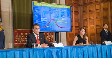 Gov. Andrew Cuomo at a coronavirus news conference