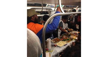 L train Thanksgiving dinner