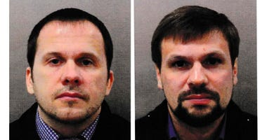 This combination photo made available by the Metropolitan Police on Wednesday Sept. 5, 2018, shows Alexander Petrov, left, and Ruslan Boshirov.