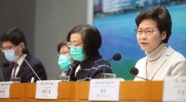 Hong Kong Chief Executive Carrie Lam speaks during a press conference held in Hong Kong, Monday, Feb 3.
