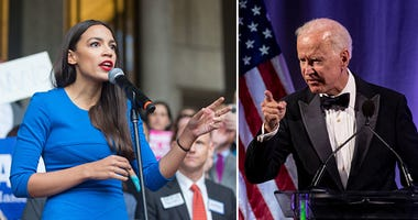 Joe Biden and Alexandria Ocasio-Cortez