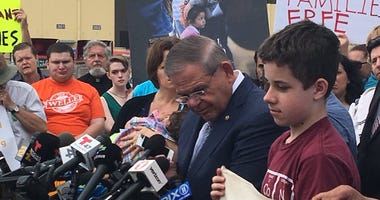 Sen. Bob Menendez at a rally in support of immigrant families separated at the border.