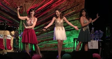 Benjamin Rauhala at the piano, Susan Egan, Laura Osnes, Courtney Reed performing opening number
