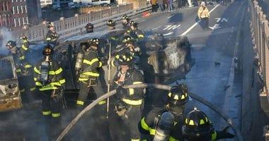 FDNY on the scene of a multi-car fire on the Brooklyn Bridge.