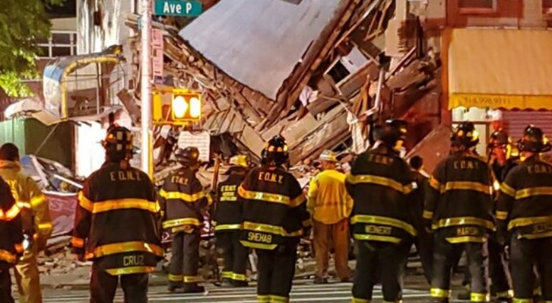 Collapsed Midwood building