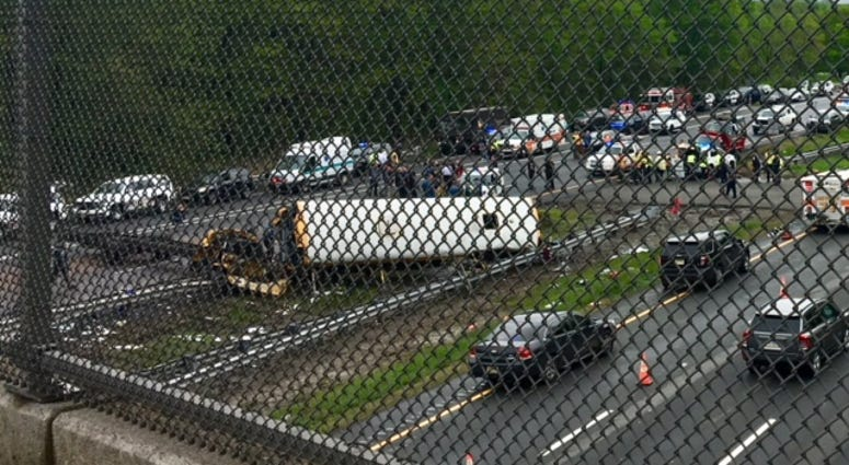 The scene of a school bush crash on Route 80 in Mount Olive.