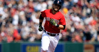 Boston Red Sox third baseman Michael Chavis runs the bases after hitting a home run against the Houston Astros during the fifth inning at Fenway Park.