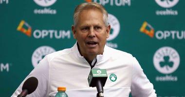Boston Celtics GM Danny Ainge addresses the media in 2016.
