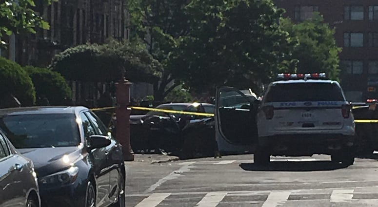 The aftermath of a chase and shooting in Sunset Park, Brooklyn.