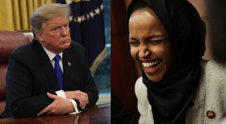 President Donald Trump and Rep. Ilhan Omar