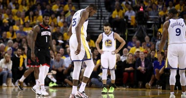 Kevin Durant exits Game 5 against the Houston Rockes with a mild calf strain.