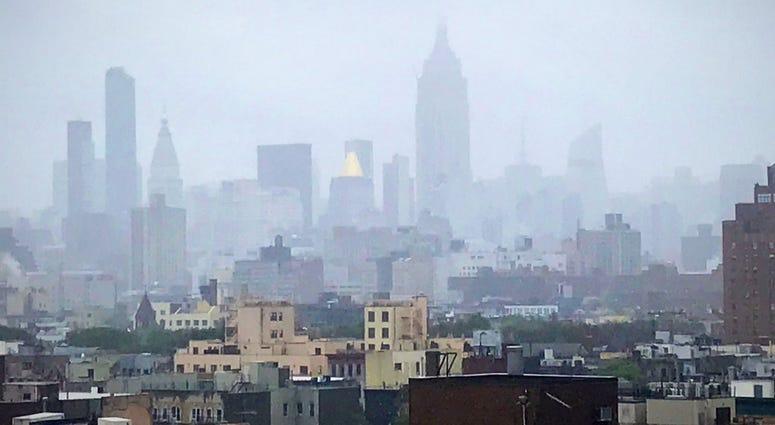 The Midtown skyline in fog