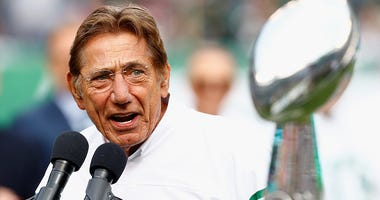 Joe Namath speaks during a Super Bowl III 50th Anniversary celebration during halftime of the game between the New York Jets and the Indianapolis Colts at MetLife Stadium on October 14, 2018 in East Rutherford, New Jersey.