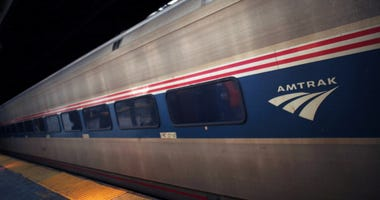 Amtrak train at Newark Penn Station