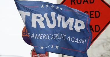 A Trump flag during a rally