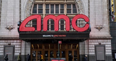 An AMC theater remains closed on March 17, 2020 in New York City.