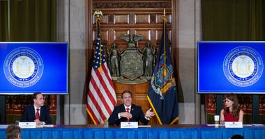 New York State Governor Andrew Cuomo speaks during his daily press briefing on May 1, 2020 in Albany, New York.